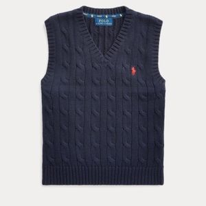 Boy's Navy Polo Cable Knit Sweater Vest, 10/12